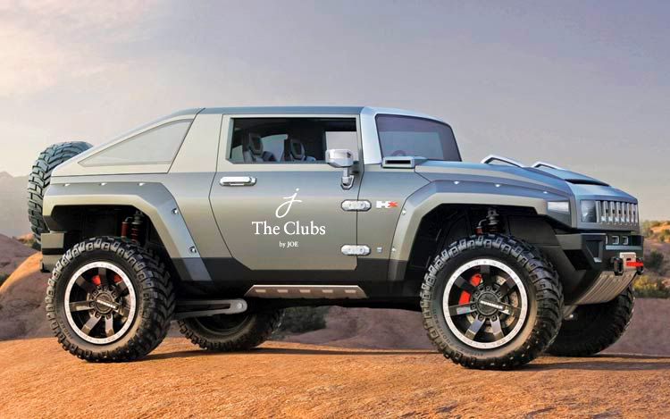 The Clubs by Joe logo on Hummer