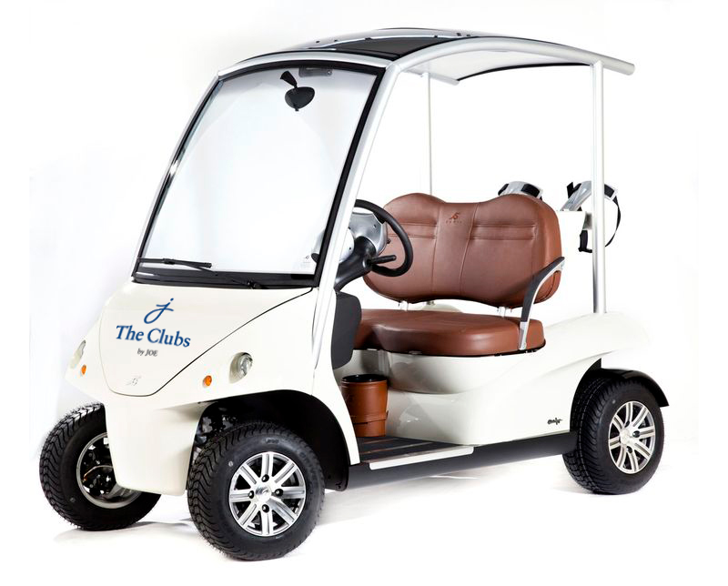 The Clubs by Joe logo on luxury golf cart