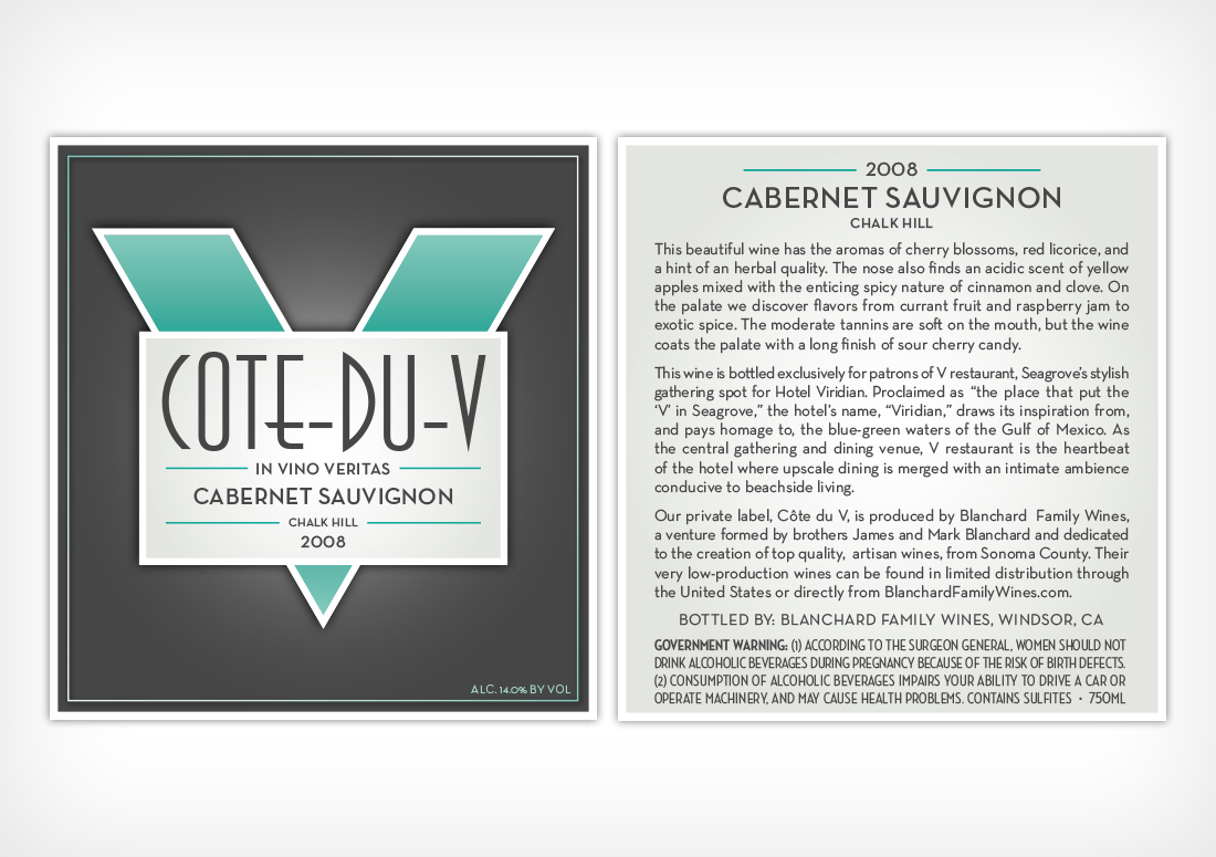 V Seagrove Cote-Du-V Custom Wine Bottle Label