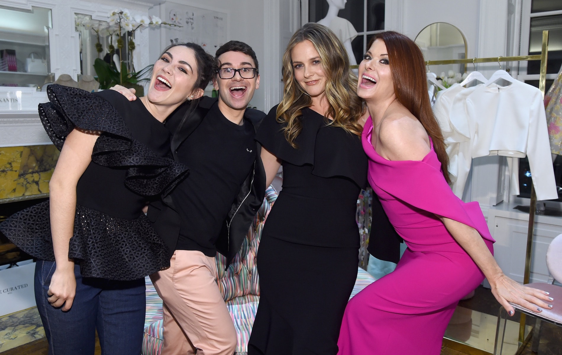 Isabelle Fuhrman, Christian Siriano, Alicia Silverstone and Debra Messing attend the opening of Christian Siriano's new store, The Curated NYC, hosted by Alicia Silverstone and sponsored by VIE Magazine on April 17, 2018, in New York City.