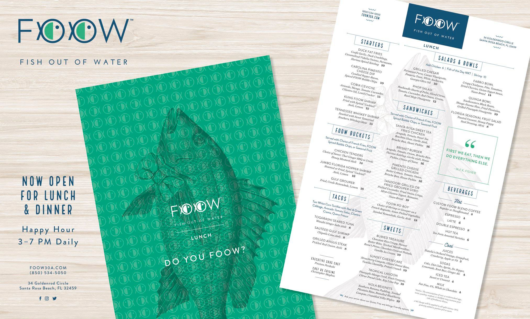 FOOW resturant menu design print ad by The Idea Boutique