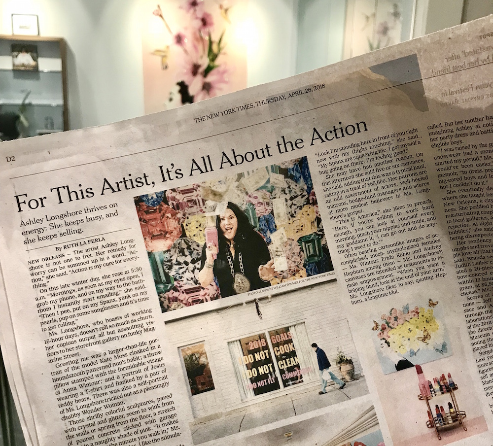 New York Times April 2018 article featuring Ashley Longshore, Lisa Burwell and VIE magazine