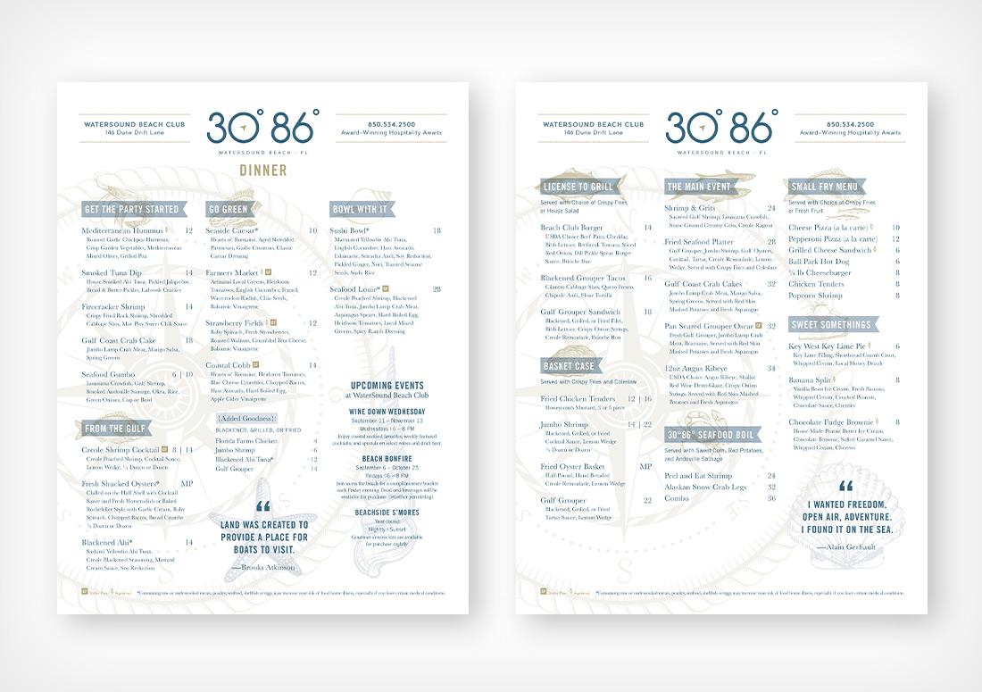 30 86 dinner menu